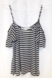 American Rag Womens Striped Cold-Shoulder Top Black White M NWT
