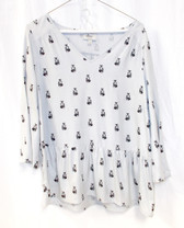 G.H. Bass & Co V-Neck Peplum Printed Fox Top Gray M NWT