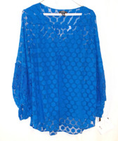 Alfani Cobalt Blue Polka Dot Lace Inset Sheer Long Sleeve Pullover Top Cami 2 Piece Set XL NWT