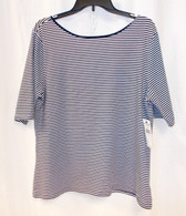 American Living Striped Boat-Neck Crisscross Back Top XXL NWT