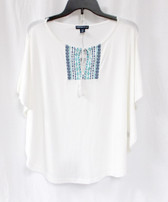 American Living Womens Embroidered Lace-Up Pullover Top White  M NWT