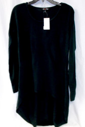 All At Once Long sleeve Seamed Hi-lo Black Tunic Sweater M NWT
