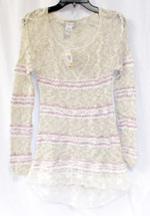 American Rag Women's Striped Open Knit Tunic Sweater Oatmeal S NWT