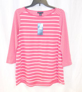 American Living Womens Pink White Striped Knit Top Pullover M NWT