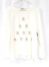 G.H. Bass & Co Womens Tree Pullover Sweatshirt Top Ivory Tan M NWT