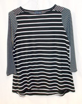 American Living Womens Striped Boat-Neck Top Black White M NWT