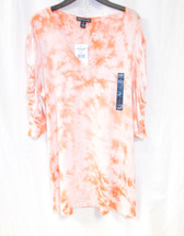 American Living Coral Pink V Neck Short Gathered Sleeves Tie Dye Print Pullover Top L NWT