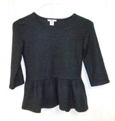 Bar III Womens Metallic 3/4 Sleeves Peplum Top Black S NWT