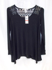 American Rag Classic Black Lace Trimmed Handkerchief Hem Tunic Top XS NWT