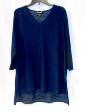 Alfani Womens 2 Piece LaceTextured Sheer Blouse Tank Navy L NWT