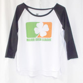 2KUHL Juniors' Major Irish League Graphic Baseball Tee T-Shirt White Black L  NWT