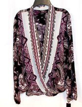 Alfani Printed Surplice Top Purple Black Paisley 12 NWT