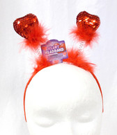 "Red Sequin Heart headband Boppers Valentine Love Costume Accessory 13"" NWT"