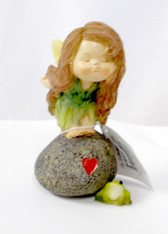 Little Fairy on Stone Painted Statue 3.5 Inches NIB