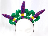 "Mardi Gras Fleur De Lis New Orleans Green Purple Yellow Headband Costume Accessory 14"" NWT"