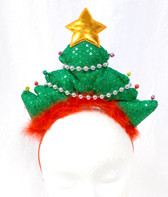 "Christmas Tree Green Red Sequin Headband Costume Accessory 14"" NWT"