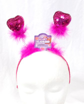"Hot Pink Sequin Heart headband Boppers Valentine Love Costume Accessory 13"" NWT"