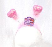"Pink Sequin Heart headband Boppers Valentine Love Costume Accessory 13"" NWT"