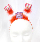 "Red White Sequin Heart headband Boppers Valentine Love Costume Accessory 13"" NWT"