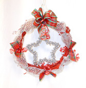 "Silver Star Plaid Ribbon Red Grapevine Wreath Christmas Home Decor 11"" New OOAK"