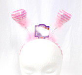 """Pink White Sequin Heart headband Boppers Valentine Love Costume Accessory 13"""" NWT"""