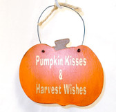 "Primitive Finished Wood Pumpkin Sign Magnet Pumpkin Kisses Harvest Wishes Gold Lettering Wire Hanger 4.75"" OOAK"
