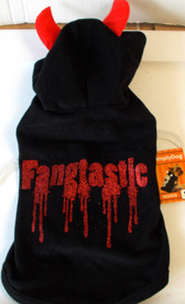 """Dog Black Hoodie Red Glitter Blood Dripping Fangtastic XS 9-11"""" NWT"""
