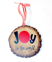 """Joy to the World Wood Slice Black Red Ornament Christmas Home Decor 4"""" New OOAK"""