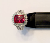 Ruby Red Crystal Rounds Silver Plated Womens Ring NWT
