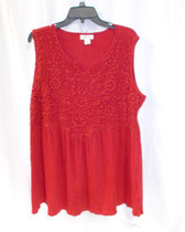 Style & Co Empire Waist Split Neck Crocheted Top Red M NWT