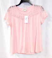 Style & Co Womens Textured Lace Yoke Top Light Coral S NWT