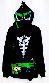 Boys Extreme Fighter Ninja Hoodie Black S M NWT