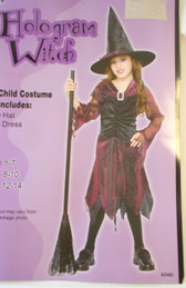Hologram Witch Black Pink (Burgandy) Child Costume 8-10 NIP