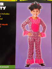 Pink Kitty Child Toddler Leopard Costume Jumpsuit Ears 2-4T NIP