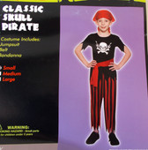 Classic Skull Pirate Child Costume Large NIP