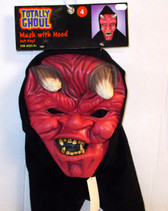 Red Devil Monster Horned Hooded Mask NWT