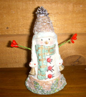 Snowman Wooden Resin Bells Holiday Home Decor 4' NeW
