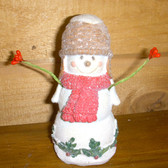 Snowman Wooden Resin Red Scarf Holiday Home Decor 4' NeW