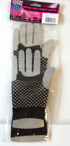 80's Rockin' Mixed Pair Black Fishnet Fingerless Gloves Adult OSFM NIP
