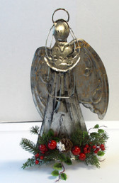 Silver Metal Angel Figurine Oval Wings Floral Decor NWT