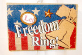 Let Freedom Ring Burlap Wooden Wall Hanging 10' NWT