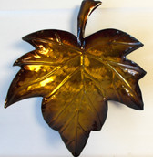 Brown Green Metal Leaf Bowl Table Decor 12' NWT
