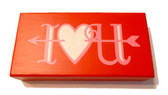 I Heart Love You Red Valentine Pink White Wood Sign Decor 7.5 x 4' NeW