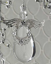 Acrylic Crystal Angel Tear Drop Winged Christmas Ornament 5.5' NeW