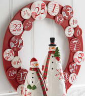 25 Days Christmas Red White Wooden Countdown Wreath 16' NeW