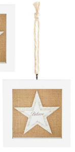 Believe White Frame Star Burlap Christmas Ornament 5' NeW