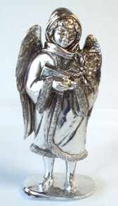 Angel Poinsettia Silver Resin Figurine Christmas Decor 7.5' NIP