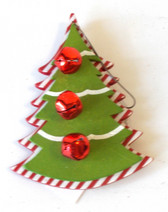 Christmas Tree Red Green Jingle Bells Wood Ornament Decor 4' NIP