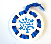 Blue Snowflake Ceramic Round  Ornament Sign 3.75' NWT