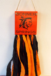 Bonner Springs Chieftains Orange Black Wood Windsock Wall Hanging 24' NeW